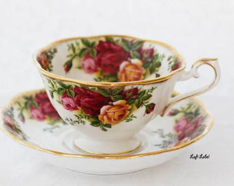 Royal Albert, Old Country Roses, Teacup And Saucer,  Red Roses, Yellow Roses, Avon,  1964s