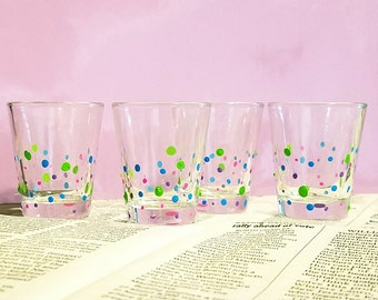 polka dot hand painted shot glass set