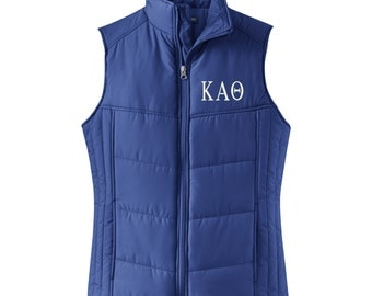 kappa alpha theta puffy vest kappa alpha theta quilted puffy vest theta apparel greek letter apparel kappa alpha theta letters vest
