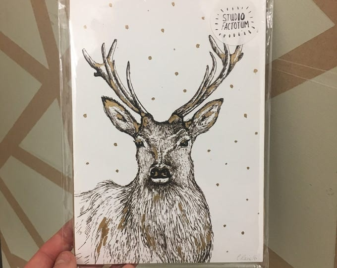 Stag Print with Gold Leaf