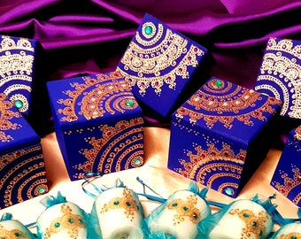New! Set of 50 Bollywood Glam Wooden Favor Boxes! Customization Options Available for Event Color Co-ordination!