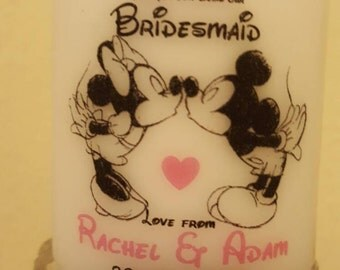 Personalised Disney font Mickey and Minnie Bridesmaid Maid of Honour Flower Girl Thank you favour gift candle