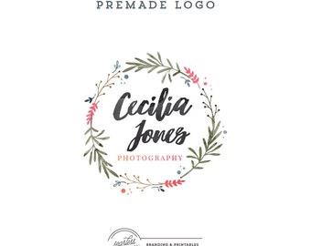Floral Watercolor Logo design, Premade Floral Logo, Calligraphic Logo, Feminine Branding, Premade Logo Design, Wreath Logo and watermark