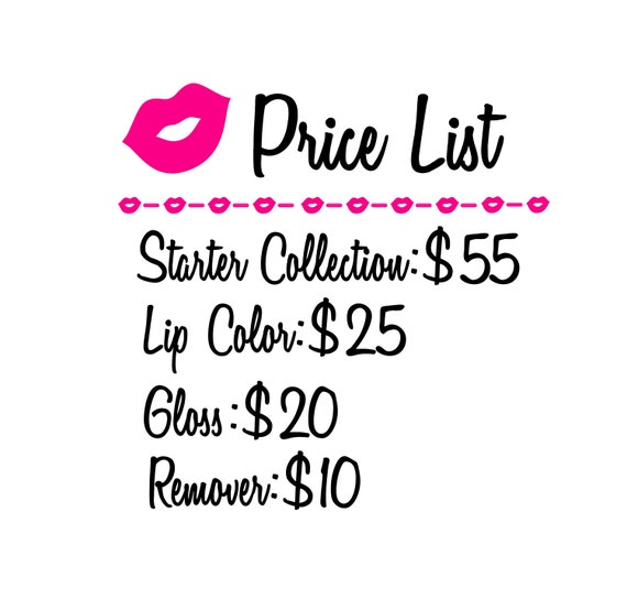 LipSense Price List Vinyl DecalSticker Lips Pricing - Vinyl decal pricing