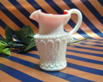 Kanawha Handcrafted Pitcher / Vase Red and White