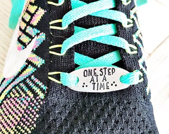 Runner Gift - Shoelace Tag - One Step At A Time Shoelace Tag - Running Accessory - Funny Runner Gift - Shoe Accessory
