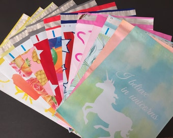 50 YOU CHOOSE Assorted Designer Poly Mailers 10x13 Peacock Pineapple Hearts Cupcake Balloons Flags Unicorns Flowers Envelopes Shipping Bags