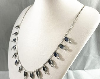 10kt White Gold Necklace with Natural Saphhires, Appraised CAD 3,450