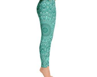 Mid Rise Womens Yoga Pants - Turquoise Patterned Leggings for Women, Blue Mandala Printed Boho Leggings