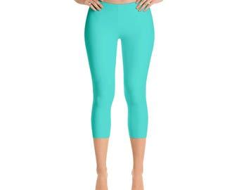 Capris - Turquoise Leggings, Solid Colored Leggings, Yoga Workout Pants