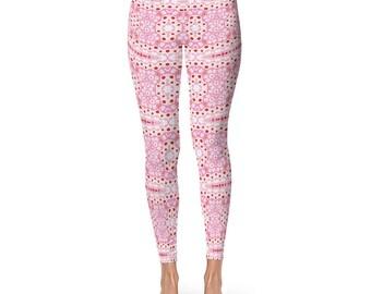 Pink Yoga Pants Printed Yoga Tights Women - Custom Leggings, Pink Yoga Leggings, Pink Pattern Tights, Stretchy Pants