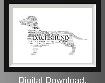 Dachshund Dog Art, Pet Art, Dachshund Dog Word Art, Sausage Dog Word Art Pet Keepsake, Word Art Typography Printable Digital File jpg format