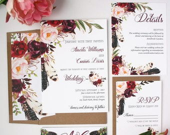 Bohemian Wedding Invitations   Burgundy   Wedding Invitations   Boho  Burgundy Collection Sample Set