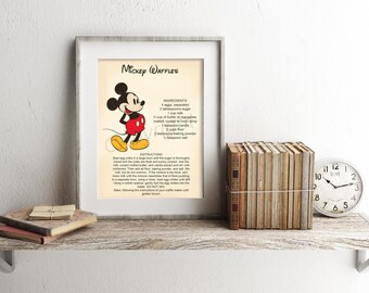 Mickey Mouse Waffle Recipe Art Print