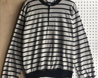 Vintage Christian Dior Lightweight Grey Black Stripes Crew Cuff & Hem Henley Shirt