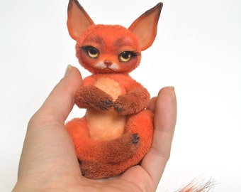 Red Cute Foxy Squirel Stuffed Animal Art Sculture Handmade Toy Collectible Unique Gift Decorative Toys Plush
