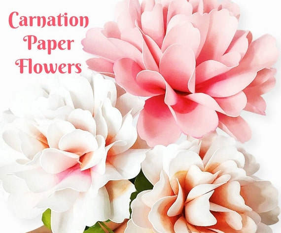 Carnation style paper flowers, DIY paper flower templates & tutorial ...