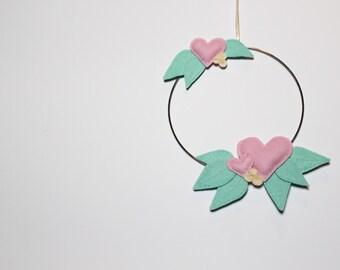 Felt Nursery Wall Hanging in Pink and Mint