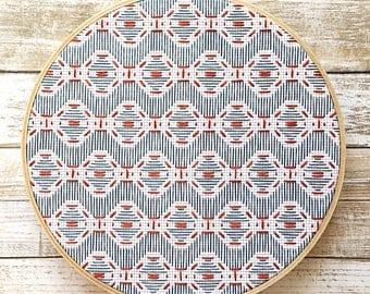 geometric embroidery hoop art/geometric wall art/geometric embroidered wall art/modern embroidery/blue and orange art/blue and orange decor