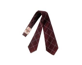 Vintage 40s Necktie - Vintage 40s Tie - Maroon Blue White - 40s Wool Tie - Melbroke Tie - Original Tags - 40s Plaid Tie - Plaid Necktie