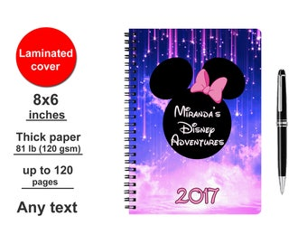Disney Autograph book Personalized Spiral Notebook Writing journal Minnie Mouse Custom Signature Travelers Kids Girls Diary for girls 2017