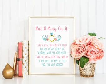 Put A Ring On It Bridal Shower Game Printable Sign, Wedding Ring Printable Digital Wall Art Template, Instant Download, 8x10