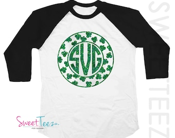 St Patrick's Day Shirt Monogrammed Shamrock shirt Green Glitter Girl Black Raglan 3/4th Sleeve Shirt Toddler Youth Shirt