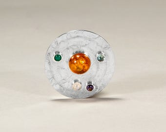 Women's Orbital, Silver Pendant with, Amber, Moonstone, Kyanite, Emerald, Amethyst Stones andTexture. Hallmarked by the Assay Office London,
