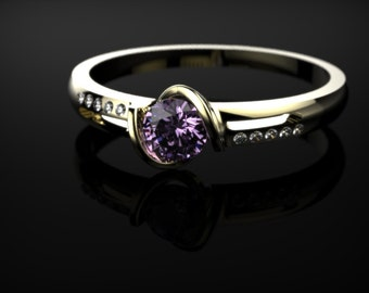 Amethyst Ring Yellow Gold Engagement Ring Amethyst Yellow Gold Gemstone Engagement Ring Amethyst Engagement Ring February Birthstone