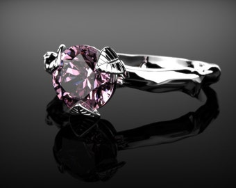 White Gold Pink Sapphire Leaf Engagement Ring White Gold Pink Sapphire Branch Ring Pink Gemstone Engagement Ring October  Ring
