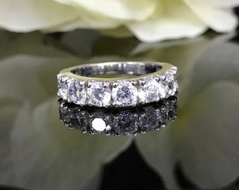 2.50 CTW Simulated Diamond Anniversary and Wedding Band set in 14K Solid White Gold    #4490