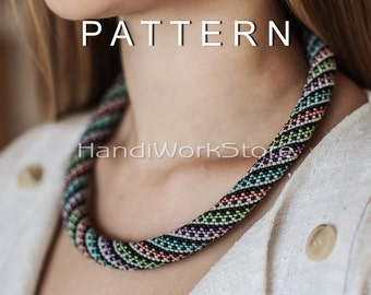 Bead crochet pattern Bead crochet necklace pattern multicolour handmade Beadwork