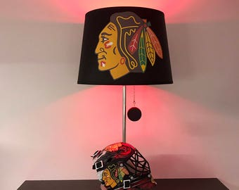 Chicago Blackhawks Mini Helmet Hockey Lamp, NHL light, man cave, kids night light
