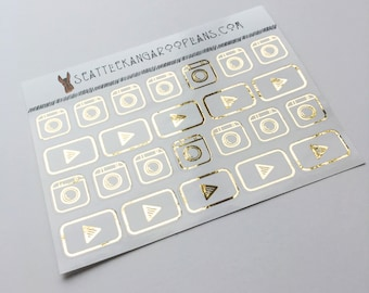 Gold Foil Instagram and Youtube Icon Stickers (24 Glossy Stickers) || SeattleKangarooPlans