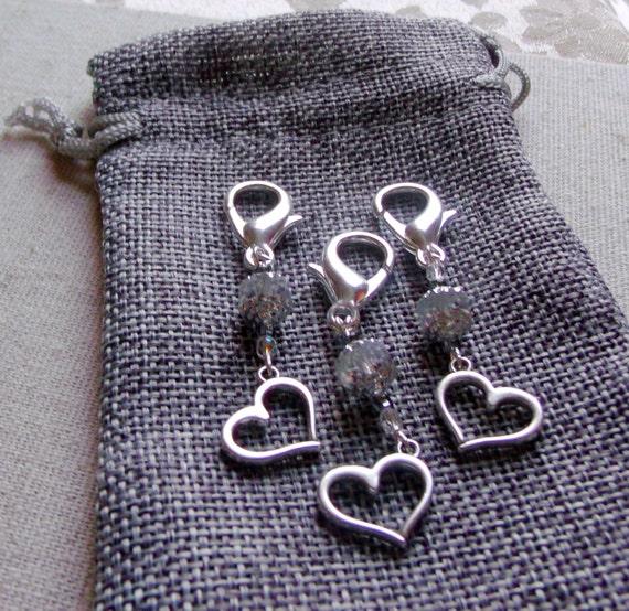 Crystal wedding zipper pulls - bridal favors - shower accessory - openwork silver heart - memento - bridesmaid gift - Anniversary