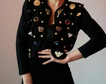 Black Cropped DIY Rhinestones Jacket Blazer