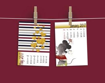 Kids calendar, Monthly calendar, 2017 calendar, Advent calendar, Homeschool, 12 months, Disney hero, Disney printable, Desk decor, Kids gift