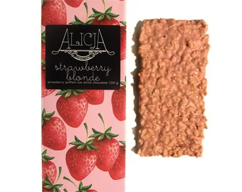 Strawberry Blonde - White Postcard Chocolate Bar - Handmade, Artisan, 100 grams, Unique Flavors - Strawberry, Puffed Rice Cereal, Crunky