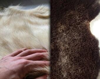 Sheep and goat fur carpet vintage | brown sheep carpet | white goat rug