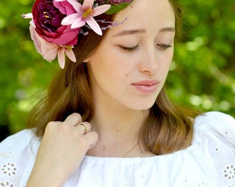 Boho Flower crown Bridal crown Purple peony crown Lilies head wreath Wedding summer flowers halo bride Boho wedding crown bride