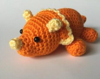 Orange Triceratops, Crochet Triceratops, Amigurumi Triceratops, Triceratops Plush, Crochet Dinosaur, Amigurumi Dinosaur, Dinosaur Plush