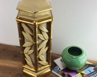 70's Glam Lamp//Gold and Cream Ginger Jar//Bamboo Motif//Hollywood Regency Lamp