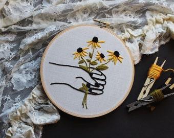 "black eyed susans hand embroidery • summer wildflower bouquet • black fingernails • floral embroidery • flower art • embroidered 6"" hoop art"