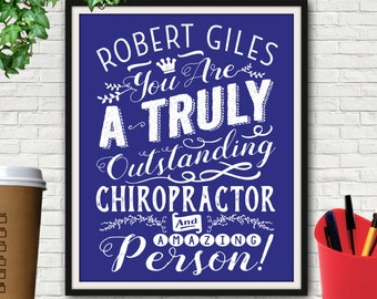 Personalized Outstanding Chiropractor Print, Chiropractic, Chiropractor, Chiropractic Art, Chiropractic Gifts, Chiropractor Gifts, Chiro, Dr