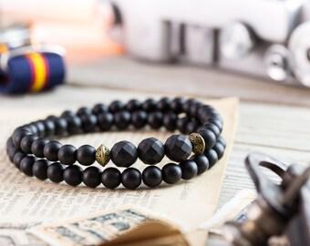 6mm - Double wrap matte black onyx beaded stretchy bracelet, mens bracelet, womens bracelet, black bead bracelet, bronze bead, stone bead