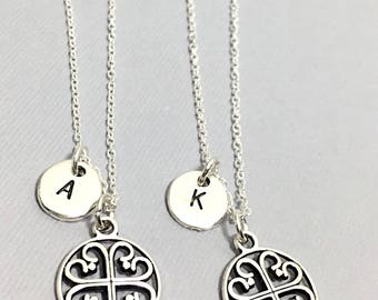 Best friend necklace, silver circle filigree necklace, filigree charm, personalized, bff for 2, initial charm, initial necklace,best friends
