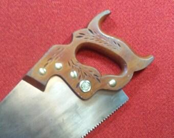 """Vintage Handsaw Disston D-23 Straight Back Crosscut Saw 26"""" 11 Point Lightweight Handsaw Trim Saw Circa 1939 thru 1955"""