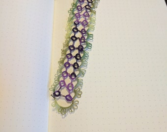 Tatted Bookmark - Green and Purple