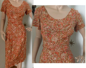 Vintage 1950s orange swirl sequins sparkly silk wiggle dress medium 329