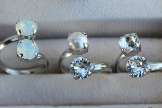 8mm Swarovski Crystal Rings in your choice of Crystal/Crystal, White Opal/White Opal or Crystal/White Pearl